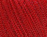 Ne: 10/3 Nm: 17/3 Fiber Content 96% Mercerised Cotton, 4% Metallic Lurex, Silver, Red, Brand ICE, Yarn Thickness 1 SuperFine  Sock, Fingering, Baby, fnt2-49855