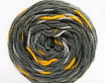 Fiber Content 80% Acrylic, 20% Polyamide, Yellow, Brand ICE, Grey Shades, Yarn Thickness 4 Medium  Worsted, Afghan, Aran, fnt2-53203