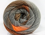 Fiber Content 90% Acrylic, 10% Polyamide, Orange, Brand Ice Yarns, Grey, Brown Shades, Yarn Thickness 4 Medium  Worsted, Afghan, Aran, fnt2-54525