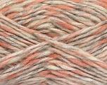 Fiber Content 48% Polyamide, 27% Wool, 25% Acrylic, White, Salmon Shades, Light Grey, Brand ICE, fnt2-56757