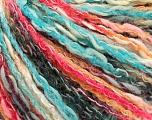 Fiber Content 50% Acrylic, 50% Cotton, Turquoise, Salmon Shades, Brand ICE, Black, Yarn Thickness 4 Medium  Worsted, Afghan, Aran, fnt2-57272