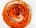 İçerik 90% Akrilik, 10% Polyamid, White, Orange Shades, Brand ICE, Yarn Thickness 4 Medium  Worsted, Afghan, Aran, fnt2-58124