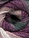 Fiber Content 95% Acrylic, 5% Lurex, White, Purple, Lilac, Brand ICE, Grey Shades, Yarn Thickness 3 Light  DK, Light, Worsted, fnt2-56089