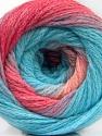 İçerik 90% Akrilik, 10% Polyamid, Turquoise, Pink Shades, Brand ICE, Yarn Thickness 4 Medium  Worsted, Afghan, Aran, fnt2-58120