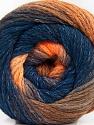İçerik 90% Akrilik, 10% Polyamid, Orange Shades, Navy, Brand ICE, Yarn Thickness 4 Medium  Worsted, Afghan, Aran, fnt2-58121